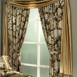 Pacific Coast Home Furnishings Inc. - Austin Horn Classics Wonderland Gold Valance Scarf - - Wonderland is a yarn dyed jacquard with soft blues off set by rich chocolates, trimmed with dyed to match cording and tassels.   - Valance scarf measurements: 27 x 216.   - Dry clean recommended.   - Valance scarf only, panels, and all other decorative accesorries and bedding sold seperately.   - Made in U.S.A. Pacific Coast Home Furnishings Inc. - WON309187-VAL