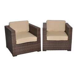 Amazonia - Bellagio Deluxe Arm Chair - Set of 2 - Set of 2. Aluminum and Synthetic Wicker frame. Free feron gard vinyl preservative for longest strap durability. It works great against the effects of air pollution salt air, and mildew growth. For best protection, perform this maintenance every season or as often as desired. Dark Brown Wicker. Antique Beige Cushion. Great functionality. Water Repellent Polyester Cushions. Warranty: 1 year. 31.5 in. W x 31.5 in. D x 27 in. HGreat quality, stylish design patio sets, made of aluminum and synthetic wicker. Sunbrella cushions. Enjoy your patio with elegance all year round with the wonderful Atlantic outdoor collection.