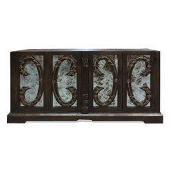 Koenig Collection - Old World Mirror Buffet, Fresco Brown Distressed With Gold Scrolls - Old World Mirror Buffet, Fresco Brown Distressed with Gold Scrolls