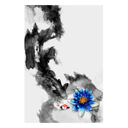 """Maxwell Dickson - Maxwell Dickson """"WaterLily"""" Art Canvas Print Wall Pop Art Koi Fish Artwork - We use museum grade archival canvas and ink that is resistant to fading and scratches. All artwork is designed and manufactured at our studio in Downtown, Los Angeles and comes stretched on 1.5 inch stretcher bars. Archival quality canvas print will last over 150 years without fading. Canvas reproduction comes in different sizes. Gallery-wrapped style: the entire print is wrapped around 1.5 inch thick wooden frame. We use the highest quality pine wood available."""