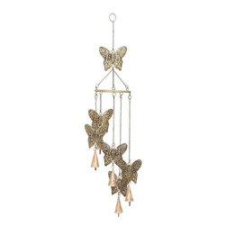 Benzara - Garden Wind Chimes - Metal Butterfly Windchimes 28in.H, 5in.W - Size: 28 high x 5 wide x 5 depth (inches)