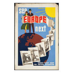 Custom Photo Factory - See Europe Next Vintage Travel Poster Canvas Wall Art - See Europe Next Vintage Travel Poster  Size: 20 Inches x 30 Inches . Ready to Hang on 1.5 Inch Thick Wooden Frame. 30 Day Money Back Guarantee. Made in America-Los Angeles, CA. High Quality, Archival Museum Grade Canvas. Will last 150 Plus Years Without Fading. High quality canvas art print using archival inks and museum grade canvas. Archival quality canvas print will last over 150 years without fading. Canvas reproduction comes in different sizes. Gallery-wrapped style: the entire print is wrapped around 1.5 inch thick wooden frame. We use the highest quality pine wood available. By purchasing this canvas art photo, you agree it's for personal use only and it's not for republication, re-transmission, reproduction or other use.