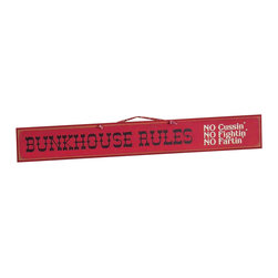 Sleepy's Signs - Bunkhouse Blues Rustic Western Wood Sign - Lay  out  the  bunkhouse  rules  in  one  easy  lesson  with  this  rustic  western  wood  sign  that  is  made  in  the  USA.  Finished  in  a  vintage  red  on  distressed  wood,  the  sign  is  lettered  in  dark  blue  and  white.  A  simple  rope  hanger  completes  the  rustic  style.  Customize  with  your  own  saying  at  no  extra  cost.  Just  make  your  request  when  you  place  your  order,  or  choose  from  one  of  our  many  sayings.  Perfect  for  rustic  ranch  house,  mountain  cabin  or  western  hacienda.                  Wood  sign              Rope  hanger              48  W  x  5.5  H              Allow  4-6  weeks  for  shipping