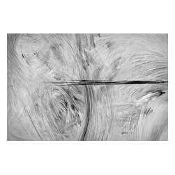 Paris Whitewash, Limited Edition, Photograph - One of the things I love most about traveling are the small abstract details you discover. This from an abstract photography series of a whitewashed windows in Paris - when a shop is renovating, instead of hoarding, the glass is whitewashed from the inside. This image has an abstract graphic effect that reminds me of a charcoal drawing, in shades of gray, white and black. The image is a professionally printed archival inkjet print. It measures 12x18 inches, with an additional white border, in a limited edition of 35.