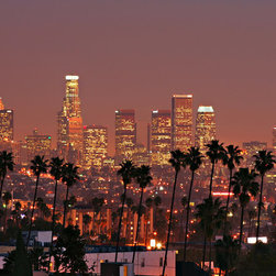 Murals Your Way - Los Angeles Skyline Vinyl Wall Decal Wall Art - A pink sky dominates this photographic Vinyl Wall Decal of the Los Angeles Skyline