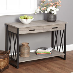 None - Seneca XX Black/ Grey Reclaimed Wood Sofa Table - Designed with a reclaimed grey finish, Seneca XX features black, X-shaped side supports for a charming decorative effect. A large table top as well as two drawers and a lower shelf allow you to store personal effects and display decorations.