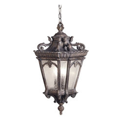 Kichler Lighting - Kichler Hanging Outdoor Ceiling Light - 9855LD - The styling of Old English gas lanterns and finely detailed metalwork is on display in this outdoor ceiling light. Includes six feet of chain. Takes (3) 60-watt incandescent torpedo bulb(s). Bulb(s) sold separately. Dry location rated.