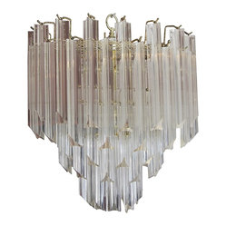 1970s Three-Tier Lucite and Brass Chandelier