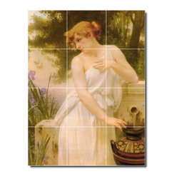 Picture-Tiles, LLC - Beauty At The Well Tile Mural By Guillaume Seignac - * MURAL SIZE: 17x12.75 inch tile mural using (12) 4.25x4.25 ceramic tiles-satin finish.
