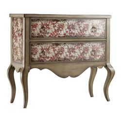 Hooker Furniture - Sakura Chest - Your bedroom will blossom with this delicately hand-painted glass dresser. Meticulously groomed with a crisp loden finish and cabriole legs stemming from dual drawers. No watering required.