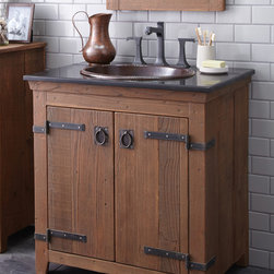 "Native Trails 30"" Americana Vanity in Chestnut - Character is a thing of the past. Handcrafted by American artisans from reclaimed wood, each Americana Vanity has a character as rich as its history. Its beautifully textured wood, rescued from structures of the past: old barns, homesteads, and fencing, has stood the test of time. These strong heirloom pieces lend soulful presence and are complemented with hand-forged iron hardware. Available in 24"", 30"" and 36"", each in Chestnut, Whitewash, Anvil, and Driftwood finishes. Pair with any of our stone or copper vanity tops."