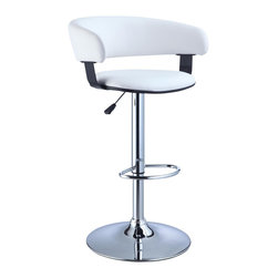 Powell - Powell White Faux Leather Barrel & Chrome Adjustable Height Bar Stool - White Faux Leather Barrel & Chrome Adjustable Height Bar Stool belongs to Miscellaneous Bars & Game Room Collection by Powell The Barrel Back Bar Stool is all about style and comfort.  A luxurious plush seat is upholstered in a rich white faux leather, while a plush curved seat back provides added comfort. Finished with a versatile chrome, this piece is an easy addition to any kitchen, bar or dining area. 300 pound weight capacity. BIFMA 5.1 and EN1335 standard testing passed and approved. Some assembly required.  Barstool (1)