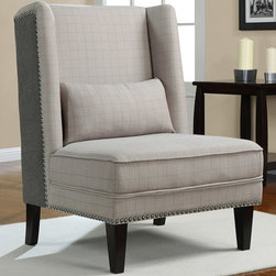 None - Gentleman's Grey Check Wing Chair - This lovely grey wing chair is a beautiful choice for your home and will look stunning in your living room. The accent chair will work well with most modern and contemporary types of decor. The chair is 41 high x 32 wide x 34 deep.