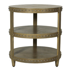 """Worlds Away - Worlds Away Three Tier Studded Side Table-Available in Three Different Colors, L - This side table has space for a fabulous lamp on the top and a picture frame or two, and below some elegantly stacked home decor or fashion magazines! The table is accented with studs on each shelf. The table measures 24"""" in diameter X 26""""H.  It is available in Black Lacquer, White Lacquer or Limed Oak Veneer."""