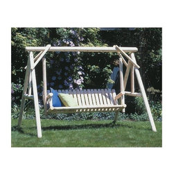 Rustic Cedar - 100 inch Wide Cedar Garden Swing Set - Swing into summer with our Classic Outdoor Swing!  This ruggedly handsome swing is built to last from natural finished Cedar wood, renowned for its strength and durability in outdoor applications.  Ideal for your yard or garden!  Ideal for summer nights in the backyard, this rustic log swing has an A-frame support with a low back and seat made from slats.  Get this rustic cedar wood porch swing set at a price too good to miss! * Natural Cedar Construction. 100 in. W x 87 in. D x 74.25 in. H175 lbs.. Weight Limit: 900 lbs.