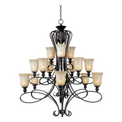 Infinity-Multi-Tier Chandelier - Classic transitional design using oval shaped tubing finished in our popular Oil Rubbed Bronze with stately Wilshire glass shades.