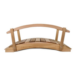 All Things Cedar - 4ft. Cedar Garden Arch Bridge with Hand Rails - In addition to their great functional value, our arched garden bridges satisfy with solid cedar sides and clear Western Red Cedar foot planks. Item is made to order.