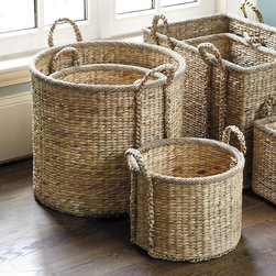 Ballard Designs - Suzanne Kasler Set of 3 Round Market Baskets - Strong braided handles. Contrasting braided edge. Imported. Designer Suzanne Kasler loves baskets and looks for inspiration every time she prowls a new flea market. She designed these sturdy baskets for toting everything from bolts of fabric to laundry. Hand woven of natural hyacinth over a metal frame. SK Market Basket features:  . . .