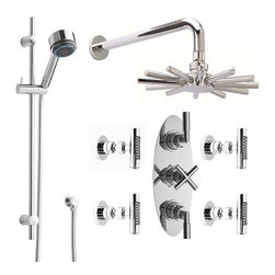 Hudson Reed - Helix Shower System Chrome With Cloudburst Head Multi-function Handheld & 4 Jets - The Hudson Reed Helix Thermostatic Triple Shower Valve (3 Outlet) features lever and cross head controls for fingertip control. Constructed from brass and with modern ceramic disc technology, this chrome finish minimalist shower valve supplies water to either the matching fixed shower head, handset or 4 Body Sprays.