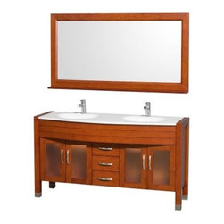 Wyndham Collection Daytona 60-in. Double Bathroom Vanity Set - Cherry - The Wyndham Collection Daytona 60-in. Double Bathroom Vanity Set - Cherry has sleek, modern style and all the right features that make it ideal for your family bathroom. The vanity is made of solid, eco-friendly zero emissions wood in a rich cherry finish. It includes two integral sinks and your choice of stylish counter material options and also includes a matching full-length, framed mirror. Double cupboard space offers shelving behind the two fully framed glass insert doors on either side of the vanity and three central drawers geared for organization. The counters are pre-drilled for single-hole faucets and faucets are not included.About the Wyndham CollectionWyndham and the Wyndham collection are all about refinement, detailing, uniqueness, quality, and longevity. They are dedicated to the quality of their products and own the factory where each piece is constructed. This allows Wyndham to offer products that reflect the rigorous quality standards required for every piece that is offered to their customers. The Wyndham collection showcases elegant, modern design styles that highlight functionality and style in every detail.