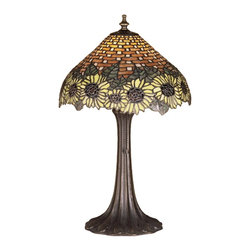 Meyda Tiffany - Meyda Tiffany Lamps Table Lamp in Mahogany Bronze - Shown in picture: Wicker Sunflower Accent Lamp; A Woven Amber Wicker Basket Brimming With Dew Kissed Country Brown Eyed Sun Yellow Sunflowers - Crowned With Bronzed Green Leaves Make This Meyda Tiffany Original Stained Glass Shade A True Charmer. With Mahogany Bronze Finished Lamp Base - This Handcrafted Accent Lamp Will Add A Touch Of Country To Any Room In Your Home.