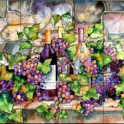 The Tile Mural Store (USA) - Tile Mural - Wine Cellar  - Kitchen Backsplash Ideas - This beautiful artwork by Kathleen Parr McKenna has been digitally reproduced for tiles and depicts a nice wine and grape scene.  Our decorative tiles with wine are perfect to use for your kitchen backsplash tile project. A wine tile mural adds elegance and interest to your kitchen wall tile area and makes a wonderful kitchen backsplash idea. Pictures of wine on tiles and images of wines bottles on tiles and wine glasses on tiles is timeless and these decorative tiles of wine blend with any decor. Your kitchen will come to life with a tile mural featuring wine.