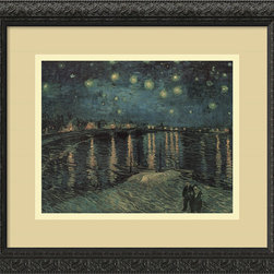 Amanti Art - Starlight Over the Rhone Framed Print by Vincent Van Gogh - Van Gogh's talent seems to glitter and glow with all the vitality of a priceless work of art. Hang this framed print over your bed to ensure sweet dreams and a stylish boudoir.