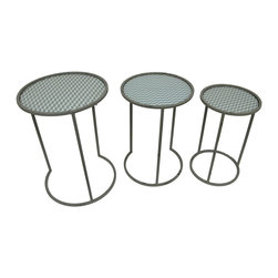 Zeckos - Green and Gray Chevron Stripe Round Glass and Metal Nesting Tables Set of 3 - This set of 3 metal nesting tables is perfect for the porch, patio, pool area or indoors adding a fun accent and feature a green chevron stripe pattern on the glass insert tops! They're great for displaying plants and statues, or for use next to your favorite chair to hold drinks, snacks and your favorite book. You can arrange the tables in a variety of ways, making an attractive display in any room, and each round table boasts a gray enamel finish. The largest table measures 18 inches in diameter and 25 inches high (46 X 64 cm). The table is 15.5 inches in diameter and 23 inches high (39 X 58 cm), and the smallest table stands 13 inches in diameter and is 21 inches high (33 X 53 cm). This set makes a fun housewarming gift that's sure to be appreciated!