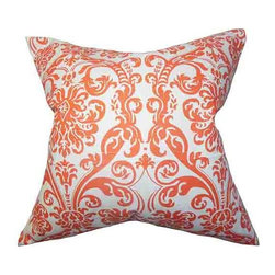 The Pillow Collection - Saskia Orange 18 x 18 Patterned Throw Pillow - - Pillows have hidden zippers for easy removal and cleaning  - Reversible pillow with same fabric on both sides  - Comes standard with a 5/95 feather blend pillow insert  - All four sides have a clean knife-edge finish  - Pillow insert is 19 x 19 to ensure a tight and generous fit  - Cover and insert made in the USA  - Spot clean and Dry cleaning recommended  - Fill Material: 5/95 down feather blend The Pillow Collection - P18-PP-ABIGAIL-MANDARIN-C100