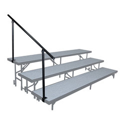 National Public Seating - National Public Seating Side Guard Rails for Standing Risers in Black - Guardrails are recommended while using any of our stages or risers to ensure safety, available in different sizes to accommodate your setup. Black in color, they assemble and install easily.