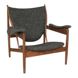 #N/A - The Sterling Lounge Chair - Tweed Black - The Sterling Lounge Chair - Tweed Black. The Sterling Lounge Chair is made of American Ash stained in Walnut color and fabric. This will be a statement piece in your home as well as the best seat in the house.