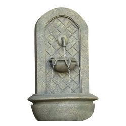 "Serenity Health & Home Decor - Marsala Outdoor Wall Fountain French Limestone - Dimensions: 18""Wide x 10.5"" Deep x 25.5""High, 10 lbs"