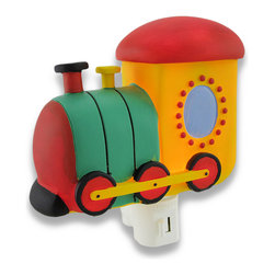 Children`s Train Locomotive Night Light Nite Lite - This whimsical train locomotive adds an adorable accent to your child`s room while illuminating the night hours to keep monsters away. Made of cold cast resin, it measures 5 1/4 inches long, 4 inches tall, and 2 1/4 inches deep. It has a 360 degree swivel plug to accommodate any outlet, and it uses a 7 watt (max) type C night light style bulb (included). The light has an on/off switch on the front, and is recommended for children ages 6 and up.