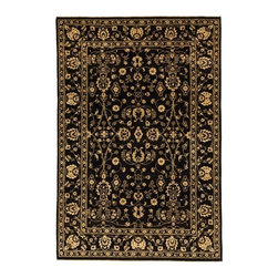 Silk Rugs - 5.1x8.8 Black and Gold Classic Silk & Wool Rug with Borders