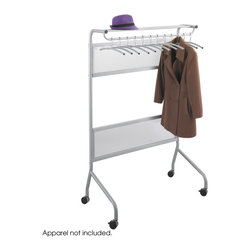 "Safco - Impromptu Garment Rack - Silver - Have spontaneous guests? Then the Impromptu Garment Rack is perfect for your workplace! Even scheduled guests need somewhere to keep their coats! The Impromptu Garment Rack has a sturdy steel frame and translucent polycarbonate panels for an intriguing look. It features a storage shelf above the rack for additional garments including hats, scarves mittens and gloves! The garment rack holds up to 32 hangers,12 hangers included and has a silver powder coat finish. Four casters, (2 locking). Hook Quantity: 12 hangers included; Paint Finish: Powder Coat; Shelf Quantity: 1; Limited Lifetime Warranty; Wheel Caster Style: 4 Casters (2 Locking); Dimensions: 40 1/4""w x 58 3/4""h x 29 3/4""d"
