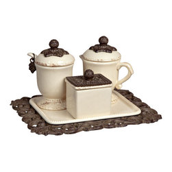 GG Collection - GG Collection Coffee Container Set - Cream and Sugar Set w/Sweetener Box on Tea Tray, Cream Ceramic w/Brown Metal Holder, Original Acanthus Leaf, Care: Ceramic is dishwasher safe, wash metal in mild soap and dry with a soft cloth