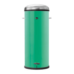 VIPP - VIPP 24 Pedal Bin 30L - Copenhagen Green - The Vipp pedal bin is made with a layer of stainless steel and equipped with a damper mechanism for smooth closing of the lid as well as a rubber ring that guarantees air-tight closure. The body is manufactured in powder-coated steel and hides the removable, galvanized steel inner bin. A rubber ring at the base ensures that sensitive surfaces are safeguarded. 10 Year Warranty. One roll of 20 customized bin liners included. Additional bin liners available.