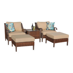 TKC - Mandalay 5 Piece Outdoor Wicker Patio Furniture Set 05a 2 for 1 Cover Set - Features: