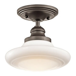 Kichler - Kichler 42268OZ Keller Single-Bulb Indoor Pendant w/Schoolhouse Glass Shade - Product Features: