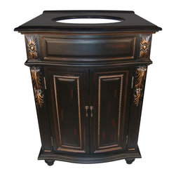 "L&K Designs - 26 Inch Traditional Single Sink Bathroom Vanity - The French Quarter 26"" Vanity finsh features a black rub through finish with antiqued gold highlights.  It has 2 functional doors. Dimensions: 26""W X 22""D X 36""H (Tolerance: +/- 1/2""); Counter Top: Black Granite; Finish: Black Rub with Antiqued Gold Highlights; Features: 2 Doors, 1 Interior Shelf; Hardware: Antique Burnished Brass; Sink(s): 11.5"" X 15"" Oval Undermount Bisque Ceramic; Faucet: Pre-Drilled for Standard Three Hole 8"" Center (Not Included); Assembly: Fully Assembled; Large Cut Out in Back for Plumbing; Included: Cabinet, Sink; Not Included: Faucet, Backsplash, Mirror (25""W X 38""H)"