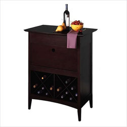 Winsome - Winsome Wine Butler with Glass Rack in Dark Espresso - Winsome - Wine Racks - 92837 - The elegant espresso wine butler is sure to be a luxury for both the wine connoisseur and the occasional sipper. Its lower criss-crossed shelf holds eight bottles while its upper cabinet drops down to reveal a glass stemware storage compartment. The Espresso's table top also separates to create a secure holding spot for open bottles and offers extra table space on which to rest full glasses.