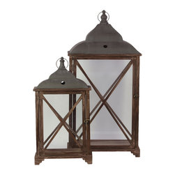 Rectangle Wood Lantern Cast Iron Top and Glass Sides - Set of 2 - *Wood Lantern with Cast Iron Top Metal Handle and Glass Sides Set of Two Stained Wood Finish