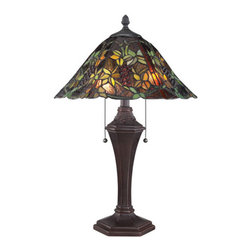 Quoizel - Tiffany Russet 24-Inch Two-Light Liana Table Lamp - - Louis Comfort Tiffany loved recreating nature in his intricate windows and lampshades and the Liana table lamp with its undulating shape and colorful floral design captures that spirit. The 24-Inch-high lamp contains 462 pieces of art glass that are hand-assembled using the copper foil technique developed by Tiffany. The Russet finish handsomely enhances the traditional lines of the detailed base. Two 75-watt medium-base bulbs provide ample illumination.  - Switch Type: Pull Chain Socket (On/Off)  - Bulb Not Included Quoizel - TF1561TRS