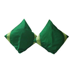 Indian Selections - Set of 2 Forest Green Decorative Handcrafted Sari Cushion Cover, 22x22 inches - 6 Sizes available