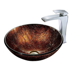 "Vigo - Kenyan Twilight Sink in Multicolor with Chrome Faucet - The VIGO Kenyan Twilight Above the Counter Tempered Glass Vessel Sink in Multicolor has a radiant and unique texture that gives the feel of sun-polished resin. Coupled with a chrome faucet, this sink brings a distinguished elegance into your bathroom.; Handmade with possible unique and slight color variations, so no two sinks are identical.; Solid tempered glass construction; Scratch-resistant glass; Non-porous surface prevents discoloration and fading; Stain-resistant, easy-to-clean surface; Polished glass interior with textured exterior; Above-counter installation; 1 3/4"" standard drain opening; VIGO Blackstonian Vessel Faucet features a simple, single lever and comes in a polished chrome finish.; Solid brass construction and chrome finish ensure durability and longer life; Mineral-resistant nozzle is easy to clean; High-quality ceramic disc cartridge ensures maintenance-free use; VIGO finishes resist corrosion and tarnishing, exceeding industry durability standards; Features easy single-hole installation; All mounting hardware and hot/cold waterlines included; Water pressure tested for industry standard; Standard US plumbing 3/8"" connections included; Standard 1 3/8"" diameter opening is required for this faucet; Includes solid brass pop-up drain and solid brass mounting ring, both in matching finish.; Overall height: 11 1/2""; 2.2 GPM flow rate; This VIGO glass vessel bowl is cUPC certified, ANSI certified and ADA compliant; Limited Lifetime Warranty; Dimensions: 24""H x 24""W x 16""D"