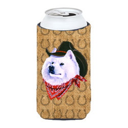 Caroline's Treasures - Samoyed Dog Country Lucky Horseshoe Tall Boy Koozie Hugger - Samoyed Dog Country Lucky Horseshoe Tall Boy Koozie Hugger Fits 22 oz. to 24 oz. cans or pint bottles. Great collapsible koozie for Energy Drinks or large Iced Tea beverages. Great to keep track of your beverage and add a bit of flair to a gathering. Match with one of the insulated coolers or coasters for a nice gift pack. Wash the hugger in your dishwasher or clothes washer. Design will not come off.