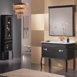 "Macral Bath Concept ( Spain) - Macral Design Products. Complete set - Traditional Vanity. London 40"". Black-Golden Patina. Pricing includes: London vanity 40"" +  London carrara marble 40"" countertop with a white ceramic recessed sink. + London mirror 39"" 1/4. Black golden patina + London linen cabinet 17-3/4"" wide. Black golden patina, total price: $5,035.20"
