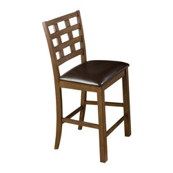 Jofran - Jofran 737 Wenatchee Falls Walnut Giga Grid Back Counter Height Stool [Set of 2] - Combining traditional details with modern designs, Jofran has a collection to compliment any home decor. This Wenatchee Falls Giga Grid back counter height stool belongs to 737 series - Wenatchee Falls walnut collection by Jofran inc. The classic formulas of color combinations are not valid in Jofran furniture territory: here is ruled by laws solely of your own preferences and fantasies. Huge selection of colors in combination with a wide choice of shapes and sizes allow you to find among this variety precisely the furniture you've always wanted to see in your home. Jofran furniture offers high quality, casual furniture pieces that are constructed from premium Asian hardwoods, and finished with beautiful veneers. Durable materials and quality assembly will help your furniture to serve for many years and will not let you be disappointed in your choice.
