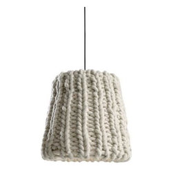 ecofirstart - Granny Pendant Lamp - You like things modern yet familiar, with a unique, handmade appeal. Well, then, it will be hard not to pick this knit. It's a pendant lamp with a shade made of Tyrolean wool hand-knitted by a German cooperative that includes seniors and people with special needs.