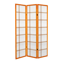 Oriental Furniture - 6 ft. Tall Canvas Double Cross Room Divider - Honey - 3 Panels - Have the look of a classic shoji screen in canvas form with our new 6 ft. Tall Double Canvas Room Divider. Constructed with two way hinges, this room divider is not only versatile but lightweight and portable so you can switch it to any room hassle free.